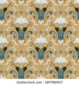 Burlesque inspired seamless repeat pattern in teal and gold