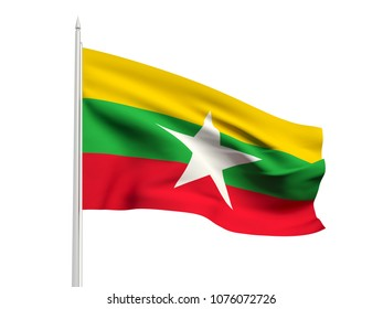 Burma flag floating in the wind with a White sky background. 3D illustration.