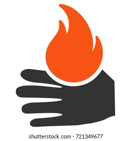 Burn Hand flat raster pictograph. An isolated illustration on a white background.
