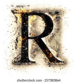 Burned alphabet. Letter R.