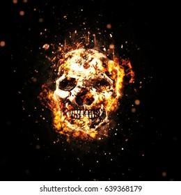 Burned skull with fiery orange flames on black background