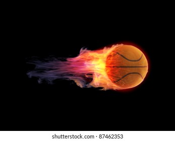 Burning basketball ,3d render