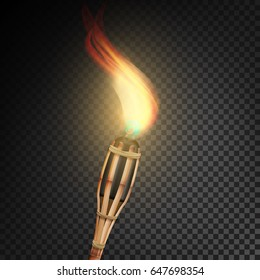 Burning Beach Bamboo Torch With Flame. Realistic Fire. Realistic Fire Torch Isolated On Transparent Background.