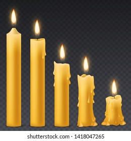 Burning candles. Candlelight romantic birthday holiday wax 3d burn out candle with flicker fire celebration symbol isolated collection