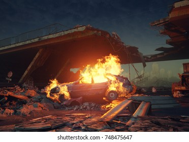 burning car in the apocalyptic city view. 3d rendering concept