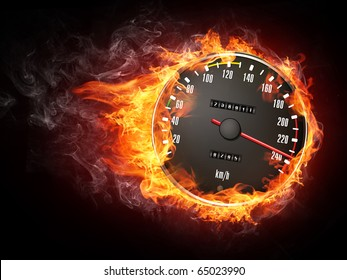Burning car speedometer enveloped in flame isolated on black background.
