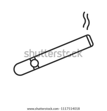 Burning Cigar Linear Icon Thin Line Stock Illustration 1117514018