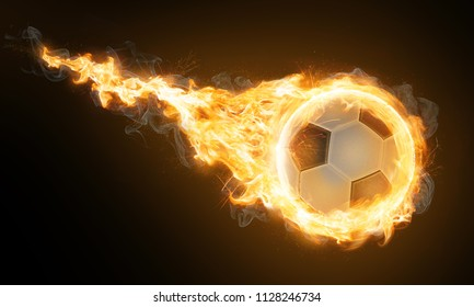 Burning classic soccer ball (3D Rendering)