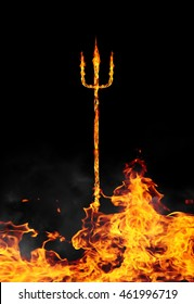 burning devils trident fork abstract fire