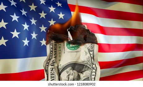 Burning dollar is on fire close up over USA flag background. burning dollar bill as a symbol of inflation, bankrupt and the financial crisis.  Global financial crisis, money, trade war with US concept