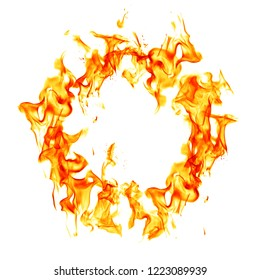 Burning fire flame ring isolated on white background