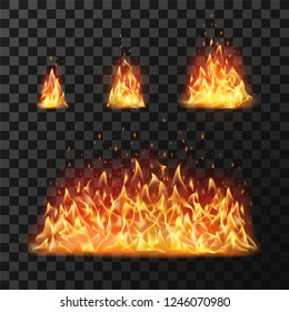 Burning fire flames or hot flaming blaze fireball. Blazing fires symbol or red cartoon forest campfire warm fireplace silhouette isolated  icon flame realistic set