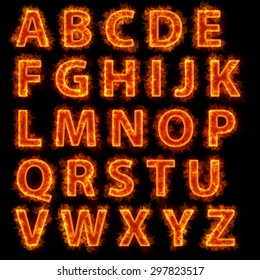 Burning fire. Fire font collection isolated on black background