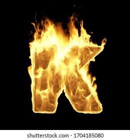 Alfabeto de llamas ardiente. Cartas de incendio aisladas en fondo negro (letra K). Representación 3D