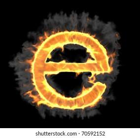 Burning and flame font E letter over black background