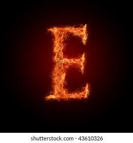 burning font. letter e