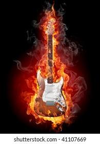 Burning guitar