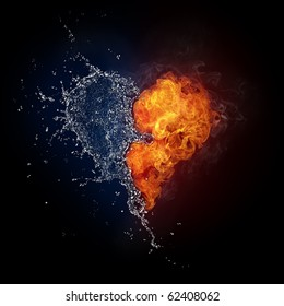 Burning heart. Heart in fire and water isolated on black background. Raster illustration of fire and water connecting in  heart shape.