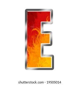 Burning letters alphabet E