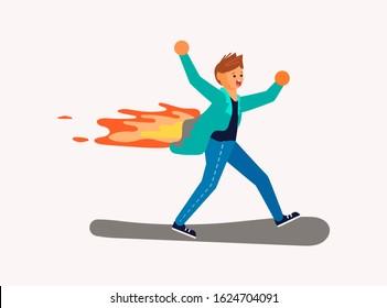 Burning man is running. Stuntman working on fire for make movie. Flat Art  Rastered Copy