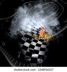Burning minds. Surrealism and symbolism. Time spirals and checkered face with eye in flames. 3D rendering