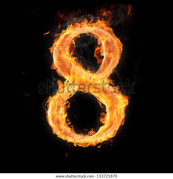 Burning numbers on black background - number eight