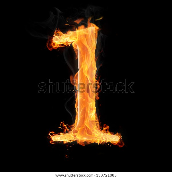 Burning numbers on black background - number one