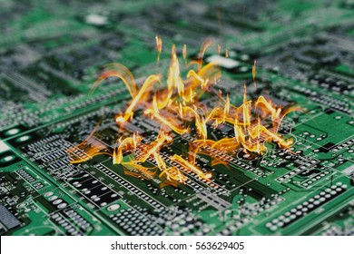 Burning PCB or printable circuit board or computer motherboard. Burning damaged computer components. 3D illustration.