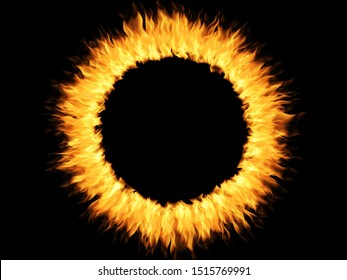 Burning Ring with fire illustration. Round frame for copy space, design or discount information. Suitable for placing inside a circle of discounts, promotions or advertising posters, hot sales.