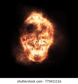 Burning skull  Fire skull