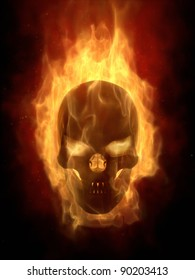 Burning skull in hot flame  real 3D simulation