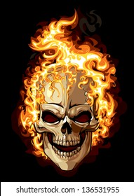 Burning skull on black background. Tattoo style.