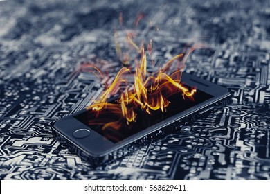 Burning smartphone on circuit board. Burning smartphone with bad battery exploded or overloaded processor - 3D illustration.