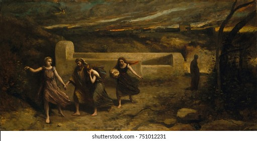 THE BURNING OF SODOM, by Camille Corot, 1843-57, French painting, oil on canvas. This was exhibited at the Paris Salon of 1857. An angel leads Lot and his two daughters to safety, but left behind is L
