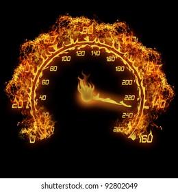 burning speedometer fire flame illustration on the black