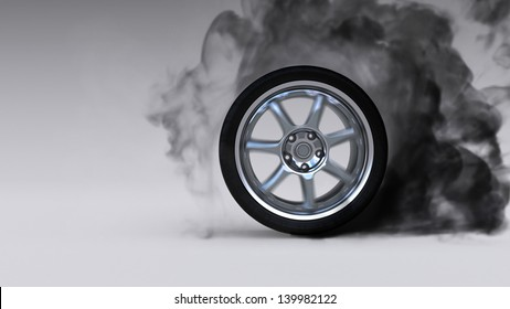 Burning wheel on white background