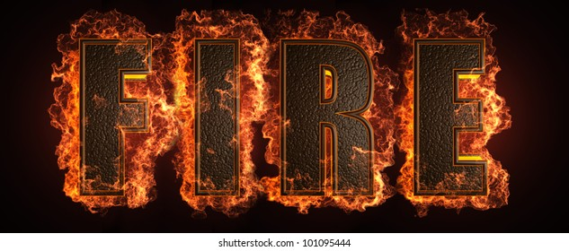 burning word made in 3D graphics