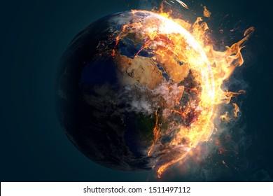 Burning world earth (3D Rendering)