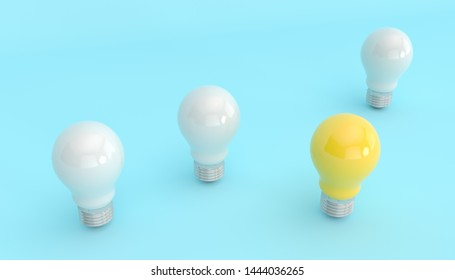 burning yellow light next to the lights off, 3d illustration