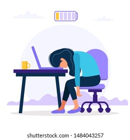 Burnout concept illustration with exhausted female office worker sitting at the table with low battery. Frustrated worker, mental health problems.  illustration in flat style