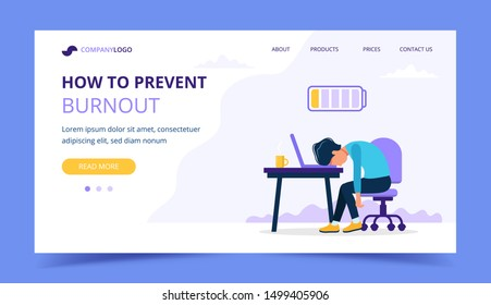 Burnout landing page with upset frustrated man, mental health problems. illustration in flat style