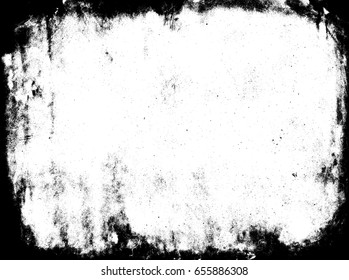 Burnt frame. Black and white paper template. Stained texture. Grunge background. Rustic shabby pattern.