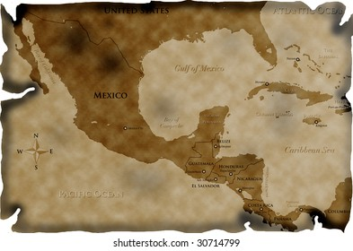 Burnt map of Central America and western Caribbean
