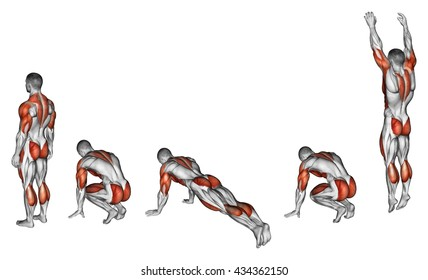 Burpee. Exercising for fitness. 3D illustration