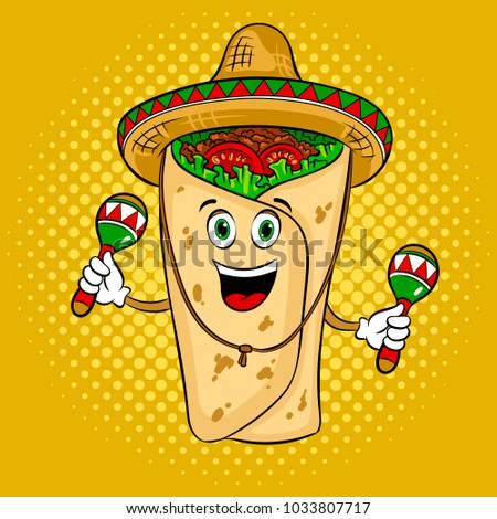 Burrito in mexican hat sombrero and maracas pop art retro raster  illustration. Cartoon food character 14bc89bed72