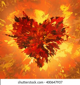 burst of broken heart on fire background