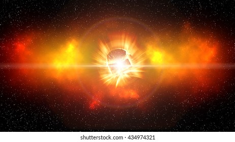 Bursting giant red star with flare