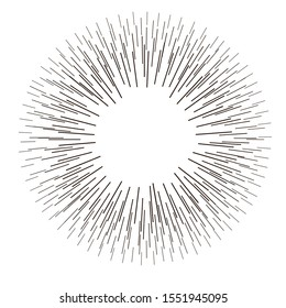 Bursting lines.Set of circular rays.Assymetric radial elements.Linear drawing. Cosmetic, medicine illustration.Monochrome explosion background.