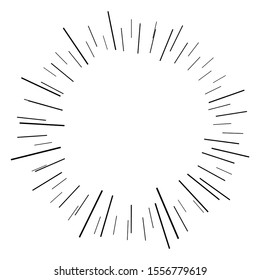 Bursting lines.Set of circular rays.Isolated assymetric radial elements.Linear drawing.Monochrome explosion background.