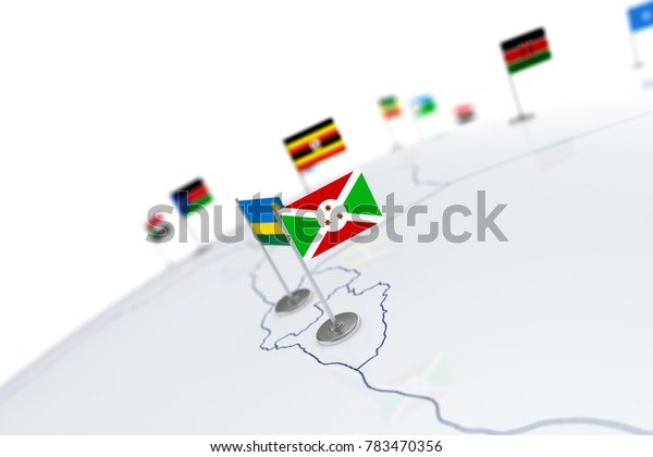 Burundi flag. Country flag with chrome flagpole on the world map with neighbors countries borders. 3d illustration rendering flag